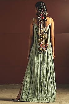 Mint Green Embroidered Dress With Slits by Priyanka Singh