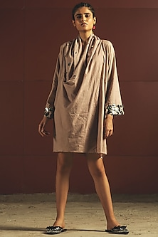 Beige Mirror Embroidered Oversized Dress by Priyanka Singh