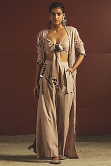 Beige Mirrors Embroidered Jacket Set by Priyanka Singh
