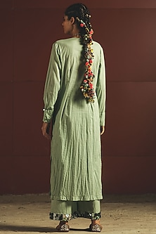 Mint Green Embroidered Kurta With Pants by Priyanka Singh