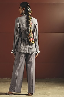 Sky Blue Embroidered Jacket With Belt & Pants by Priyanka Singh