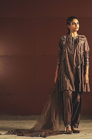 Brown Embroidered Kurta Set by Priyanka Singh