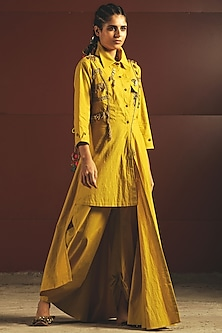 Yellow Embroidered Tunic With Pants by Priyanka Singh