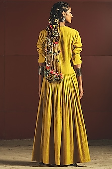 Yellow Embroidered & Pleated Tunic With Pants by Priyanka Singh