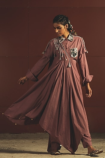 Mauve Embroidered Draped Jumpsuit by Priyanka Singh