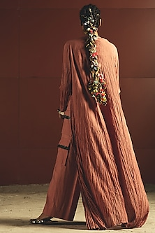 Orange Embroidered Jacket Set by Priyanka Singh