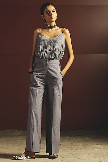 Sky Blue Mirrors Embroidered Top With Pants by Priyanka Singh