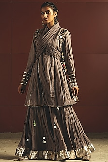Grey Embroidered Gharara Set by Priyanka Singh