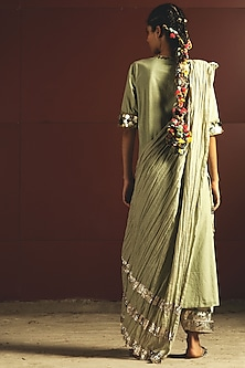 Mint Green & Off White Embroidered Kurta Set by Priyanka Singh