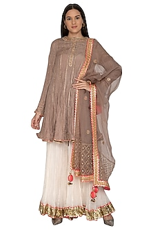 Beige Embroidered Gharara Set by Priyanka Singh