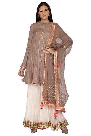Beige Embroidered Gharara Set by Priyanka Singh