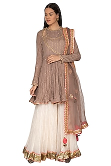 Beige Embroidered Sharara Set by Priyanka Singh