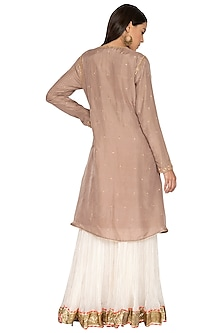 Beige Embroidered Anarkali Set by Priyanka Singh
