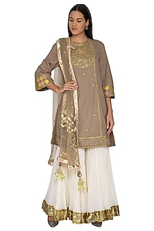 Dark Beige Embroidered Gharara Set by Priyanka Singh