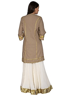 Dark Beige Embroidered Gharara Set by Priyanka Singh