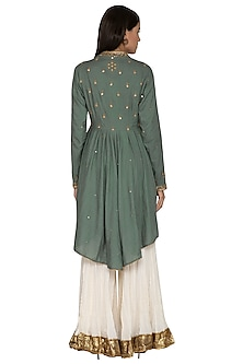 Olive Green Embroidered Gharara Set by Priyanka Singh
