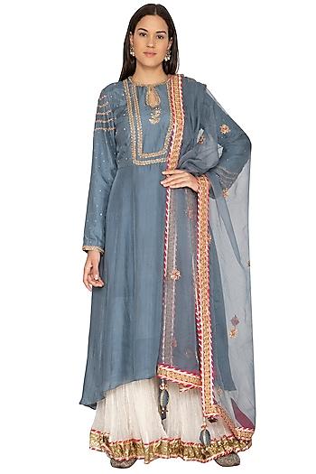 Teal Blue Embroidered Sharara Set by Priyanka Singh