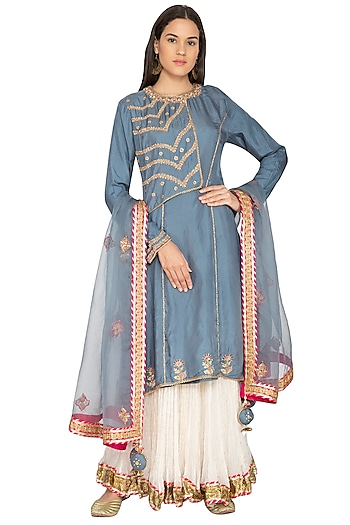 Teal Blue Embroidered Lehenga Set by Priyanka Singh