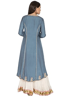 Teal Blue Embroidered Lehenga Set by Priyanka Singh