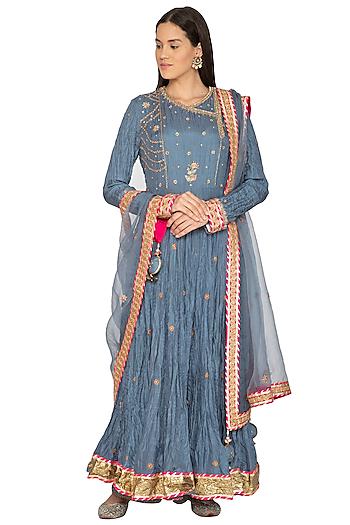 Teal Blue Embroidered Anarkali Set by Priyanka Singh