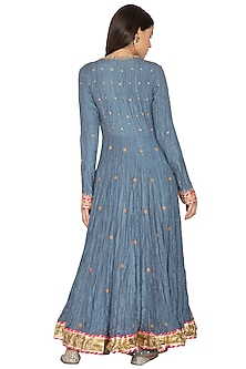 Teal Blue Embroidered Anarkali Set by Priyanka Singh