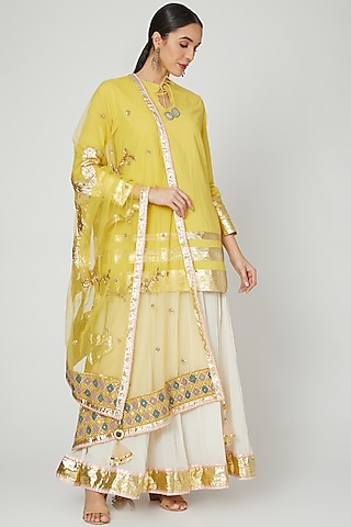 Yellow & Off White Embroidered Gharara Set by Priyanka Singh