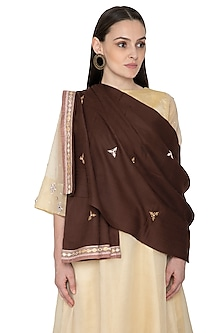Dark Brown Gota Embroidered Shawl by Priyanka Singh