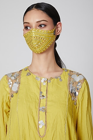 Yellow Embroidered Mask by Priyanka Singh