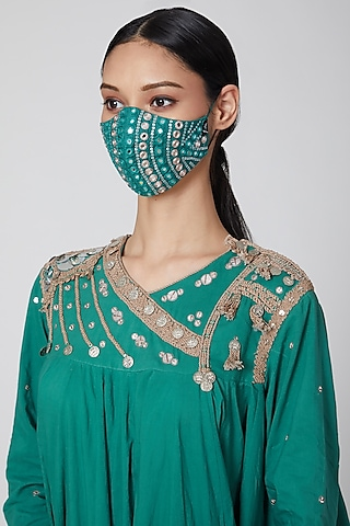 Green Embroidered Mask by Priyanka Singh