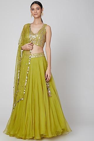 Yellow Embroidered Lehenga Set by Priyanka Singh
