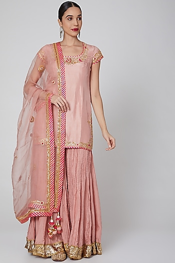Peach Embroidered Sharara Set by Priyanka Singh