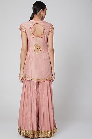 Peach Embroidered Sharara Set by Priyanka Singh