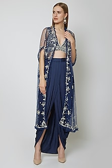 Cobalt Blue Embroidered Blouse With Dhoti & Cape by Preeti S Kapoor