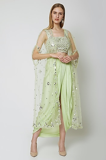 Mint Green Embroidered Blouse With Dhoti & Cape by Preeti S Kapoor