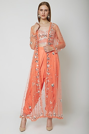 Peach Embroidered Blouse With Dhoti & Cape by Preeti S Kapoor