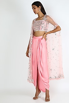 Pink Embroidered Dhoti Skirt Set by Preeti S Kapoor-POPULAR PRODUCTS AT STORE