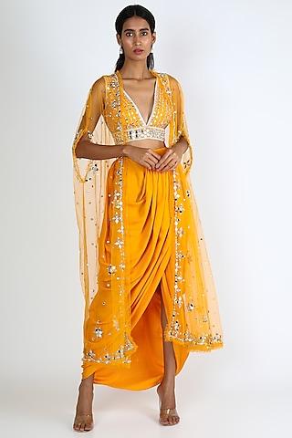 Yellow Embroidered Dhoti Skirt Set by Preeti S Kapoor