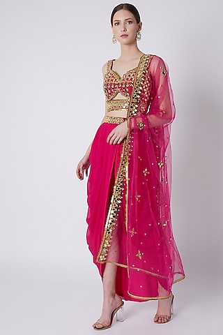 Fuchsia Mirrors Embroidered Dhoti Set by Preeti S Kapoor