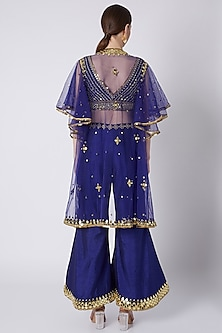 Royal Blue Mirrors Embroidered Cape Set by Preeti S Kapoor