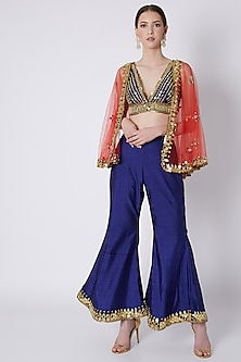 Royal Blue & Red Embroidered Cape Set by Preeti S Kapoor