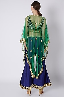 Royal Blue & Emerald Green Embroidered Cape Set by Preeti S Kapoor