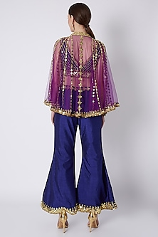 Royal Blue & Purple Embroidered Cape Set by Preeti S Kapoor