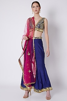 Royal Blue Embroidered Blouse With Bell Bottoms & Dupatta by Preeti S Kapoor
