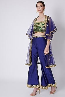 Green & Blue Embroidered Cape Set by Preeti S Kapoor