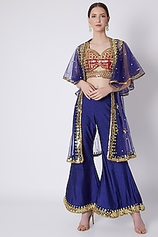 Blue & Red Embroidered Cape Set by Preeti S Kapoor