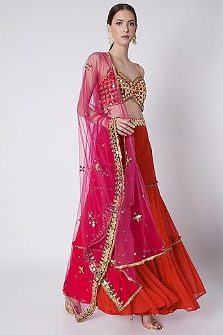 Red & Fuchsia Embroidered Gharara Set by Preeti S Kapoor