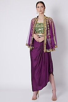 Green & Purple Embroidered Skirt Set by Preeti S Kapoor