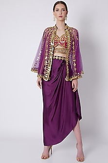 Purple & Red Mirrors Embroidered Skirt Set by Preeti S Kapoor