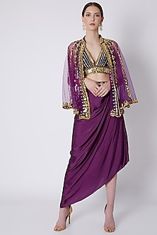 Purple & Blue Mirrors Embroidered Skirt Set by Preeti S Kapoor