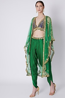 Green & Blue Embroidered Dhoti Set by Preeti S Kapoor